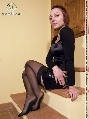 Hot seductress in cute black outfit, black shoes and hose shows sexy feet - XXXonXXX - Pic 6