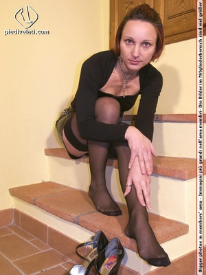 Hot seductress in cute black outfit, black shoes and hose shows sexy feet - XXXonXXX - Pic 11
