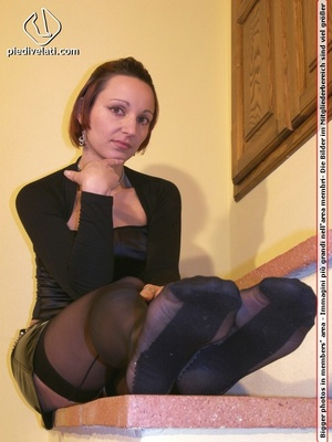 Hot seductress in cute black outfit, black shoes and hose shows sexy feet - XXXonXXX - Pic 13
