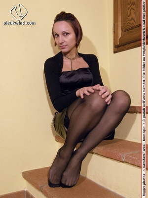 Hot seductress in cute black outfit, black shoes and hose shows sexy feet - XXXonXXX - Pic 14