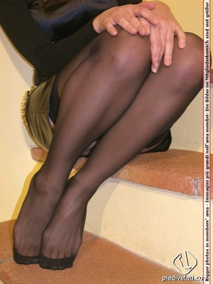 Hot seductress in cute black outfit, black shoes and hose shows sexy feet - XXXonXXX - Pic 15