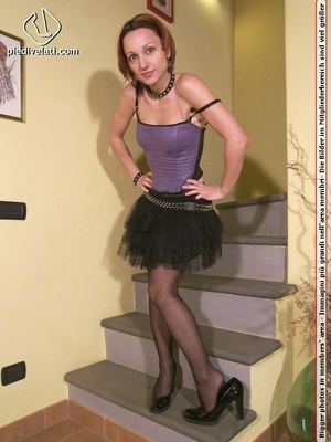 Hot chick on stairs in short skirt and top displays feet and legs in black hose - XXXonXXX - Pic 5