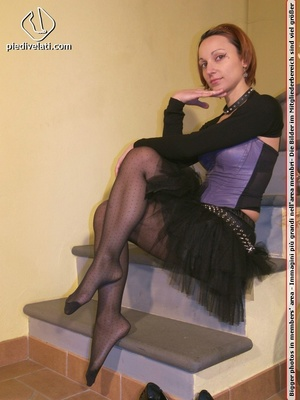 Hot chick on stairs in short skirt and top displays feet and legs in black hose - XXXonXXX - Pic 7