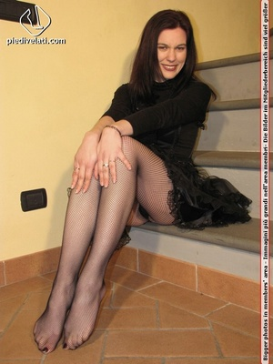 Hot chick in black outfit and boots shows sexy legs and feet in black pantyhose - XXXonXXX - Pic 4