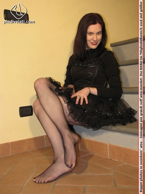 Hot chick in black outfit and boots shows sexy legs and feet in black pantyhose - XXXonXXX - Pic 6