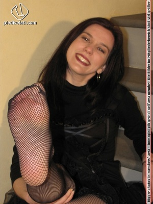 Hot chick in black outfit and boots shows sexy legs and feet in black pantyhose - XXXonXXX - Pic 8