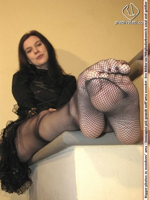 Hot chick in black outfit and boots shows sexy legs and feet in black pantyhose - XXXonXXX - Pic 11