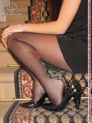 Young beauty in black outfit shows off sexy legs and feet in beautiful pantyhose - XXXonXXX - Pic 4