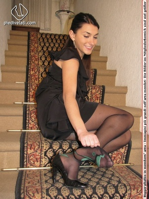 Young beauty in black outfit shows off sexy legs and feet in beautiful pantyhose - XXXonXXX - Pic 9