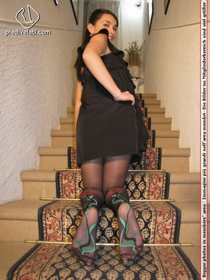 Young beauty in black outfit shows off sexy legs and feet in beautiful pantyhose - XXXonXXX - Pic 12
