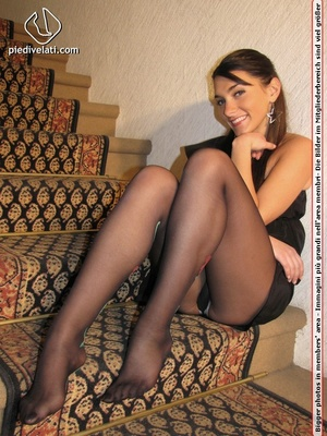 Young beauty in black outfit shows off sexy legs and feet in beautiful pantyhose - XXXonXXX - Pic 14