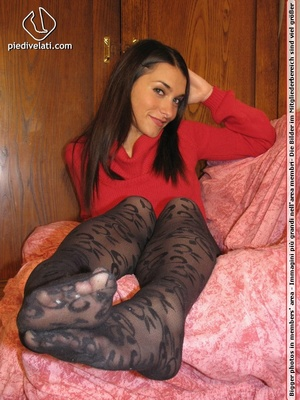 Sexy lady in red dress on pink sofa shows attractive black hot designed pantyhose - XXXonXXX - Pic 11