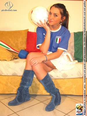 Cute sports babe in blue and white jersey removes socks to show seductive feet - XXXonXXX - Pic 1