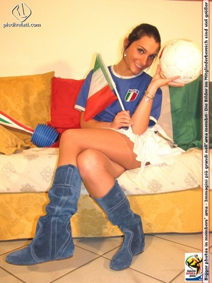 Cute sports babe in blue and white jersey removes socks to show seductive feet - XXXonXXX - Pic 2