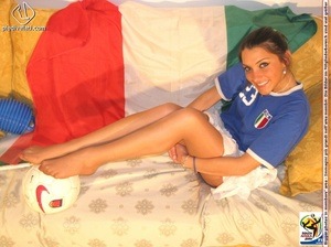 Cute sports babe in blue and white jersey removes socks to show seductive feet - XXXonXXX - Pic 9