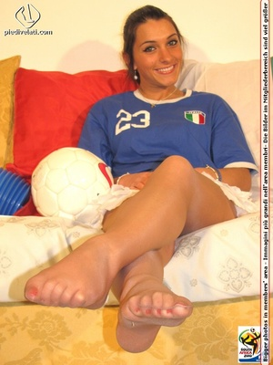Cute sports babe in blue and white jersey removes socks to show seductive feet - XXXonXXX - Pic 12