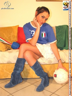 Cute sports babe in blue and white jersey removes socks to show seductive feet - XXXonXXX - Pic 15