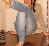 Cute chick in tight blue jeans drops shoes to display sweet cute feet