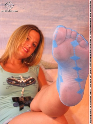 Cute blonde in short skirt, blue socks and top drops socks to reveal sweet feet - XXXonXXX - Pic 6