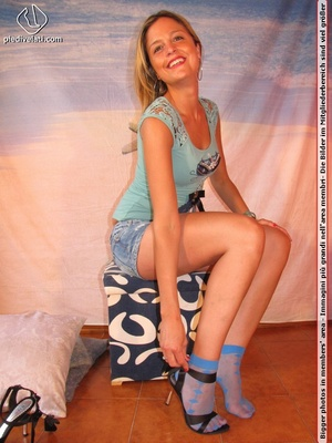 Cute blonde in short skirt, blue socks and top drops socks to reveal sweet feet - XXXonXXX - Pic 7