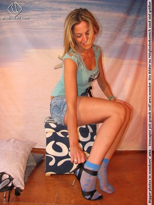 Cute blonde in short skirt, blue socks and top drops socks to reveal sweet feet - XXXonXXX - Pic 8