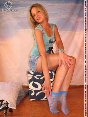 Cute blonde in short skirt, blue socks and top drops socks to reveal sweet feet - XXXonXXX - Pic 11