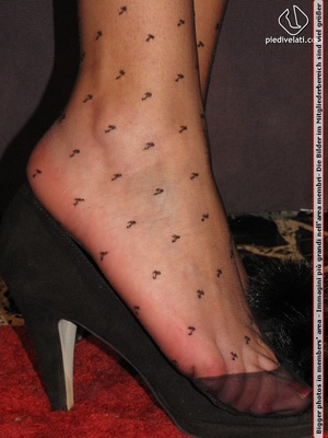 Long hair brunette in sexy white and black dress shows cute feet in black nylon - XXXonXXX - Pic 3