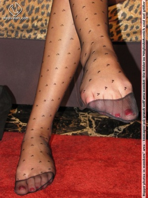 Long hair brunette in sexy white and black dress shows cute feet in black nylon - XXXonXXX - Pic 6