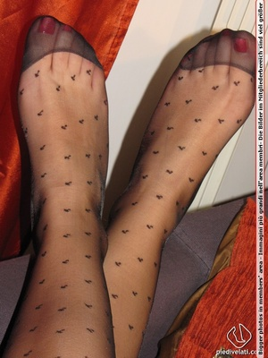 Long hair brunette in sexy white and black dress shows cute feet in black nylon - XXXonXXX - Pic 15