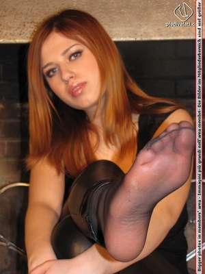 Cute young redhead in hot black long pants and top shows sexy sweet nylon feet - XXXonXXX - Pic 9