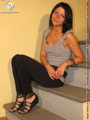 Hot girl in black pants takes off black shoes to show off cute manicured sexy feet - XXXonXXX - Pic 1