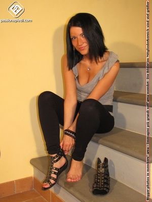 Hot girl in black pants takes off black shoes to show off cute manicured sexy feet - XXXonXXX - Pic 3