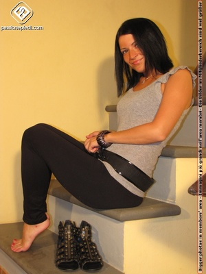 Hot girl in black pants takes off black shoes to show off cute manicured sexy feet - XXXonXXX - Pic 4