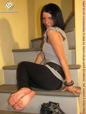 Hot girl in black pants takes off black shoes to show off cute manicured sexy feet - XXXonXXX - Pic 5