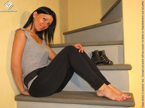 Hot girl in black pants takes off black shoes to show off cute manicured sexy feet - XXXonXXX - Pic 6