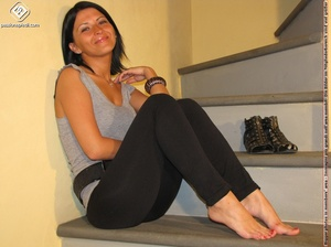 Hot girl in black pants takes off black shoes to show off cute manicured sexy feet - XXXonXXX - Pic 7