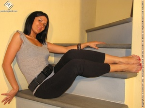 Hot girl in black pants takes off black shoes to show off cute manicured sexy feet - XXXonXXX - Pic 8