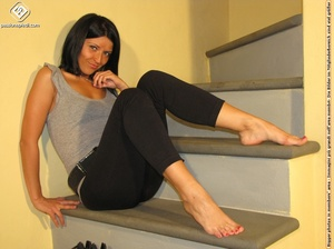 Hot girl in black pants takes off black shoes to show off cute manicured sexy feet - XXXonXXX - Pic 9