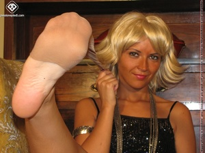 Hot blonde in black rolls off skin colored tights to reveal manicured sexy feet - XXXonXXX - Pic 10