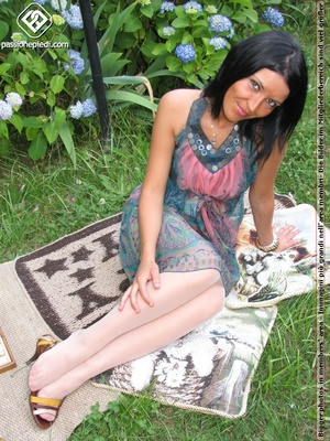 Charming black hair chick shows off sexy legs and feet in white pantyhose outdoors - XXXonXXX - Pic 3