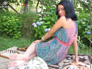 Charming black hair chick shows off sexy legs and feet in white pantyhose outdoors - XXXonXXX - Pic 4