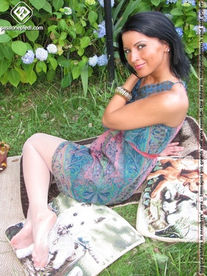 Charming black hair chick shows off sexy legs and feet in white pantyhose outdoors - XXXonXXX - Pic 5