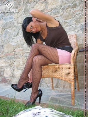 Babe in top and shorts drops black heels to show off sexy legs in black pantyhose - XXXonXXX - Pic 3