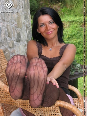 Babe in top and shorts drops black heels to show off sexy legs in black pantyhose - XXXonXXX - Pic 6