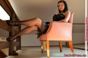 Hot photos of long sexy legs by cute babe in black top and pantyhose - XXXonXXX - Pic 4