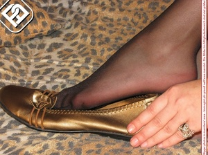 Black hair beauty in gold flat shoes, matching dress and black pantyhose - XXXonXXX - Pic 7