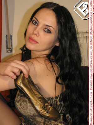 Black hair beauty in gold flat shoes, matching dress and black pantyhose - XXXonXXX - Pic 9