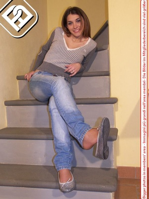 Hot young chick in blue jeans, top and silver flat shoes shows sexy feet on stairs - XXXonXXX - Pic 4