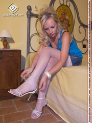 blonde strappy white heels