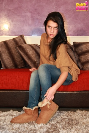 Adorable bitch gets out of her brown booties to show her stockinged feet. - XXXonXXX - Pic 2